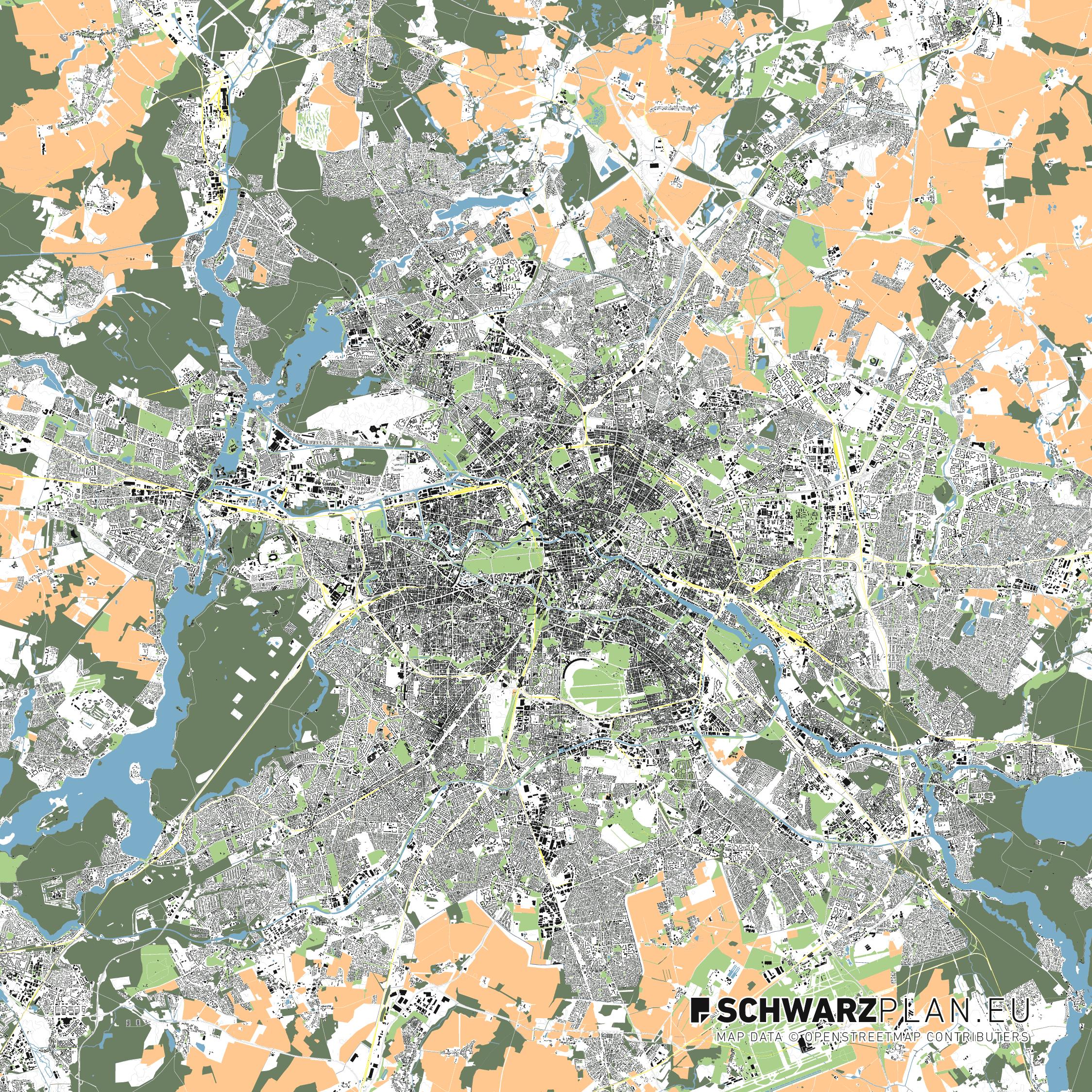 Lageplan von Berlin mit Strassen, Schienen & Waldflächen