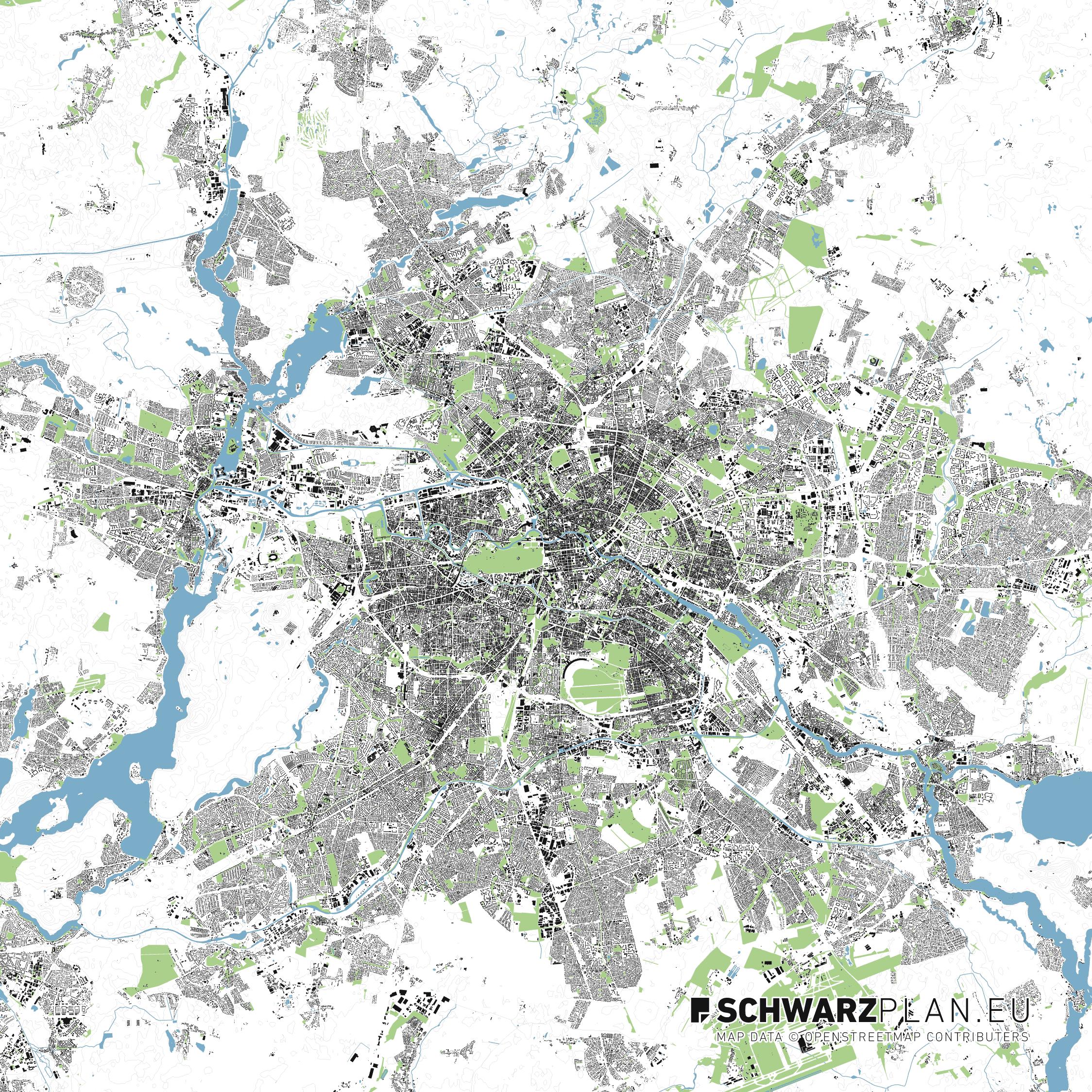 Lageplan von Berlin mit Grün & Wasserflächen