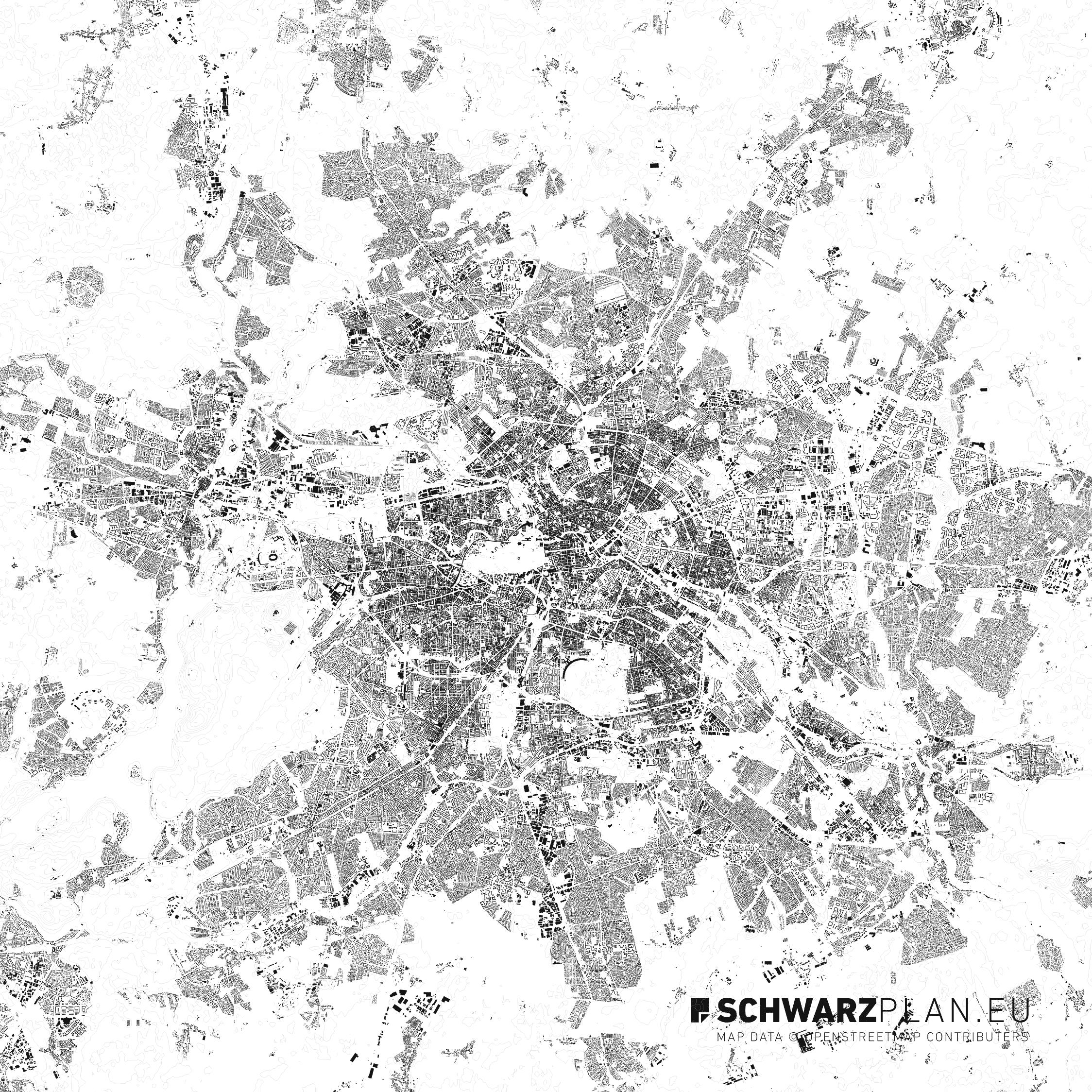Schwarzplan von Berlin mit Höhenlinien