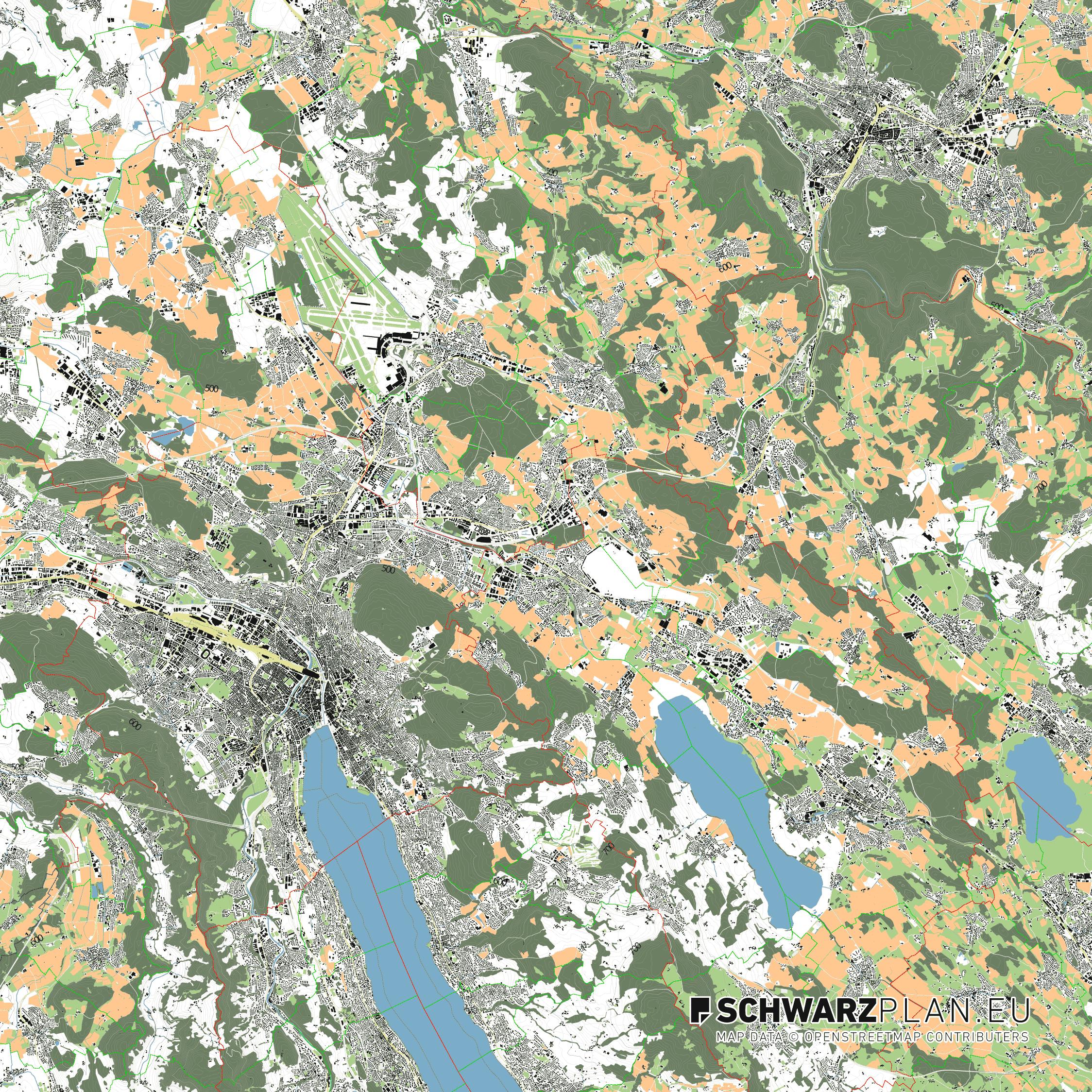 Lageplan von Zürich in der Schweiz
