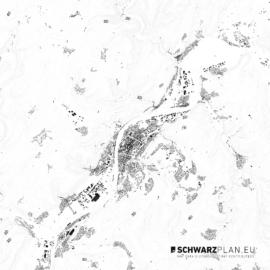 Schwarzplan von Trier mit Höhenlinien