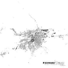 Schwarzplan von Klausenburg in Rumänien