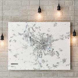 Stadtplan von Nürnberg auf Leinwand