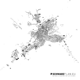 Schwarzplan von Targu Mures in Rumänien
