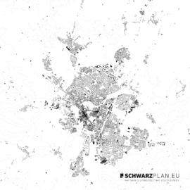 Schwarzplan von Cambridge in England