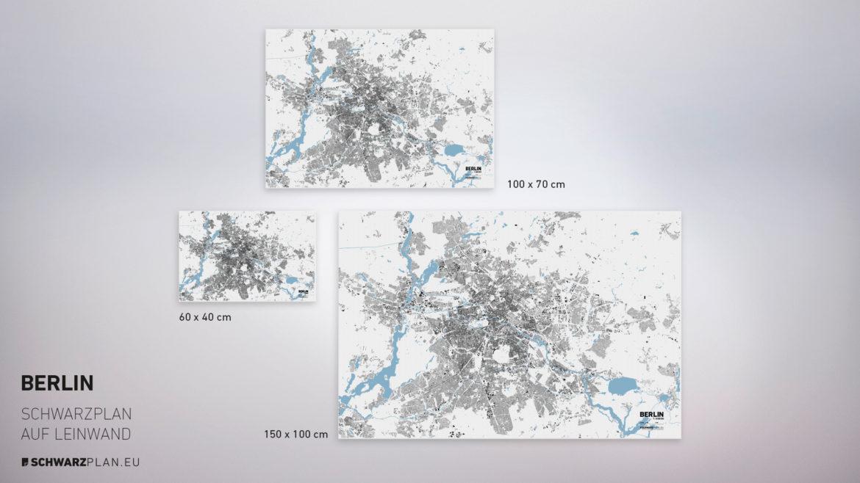 Stadtplan von Berlin gedruckt auf Leinwand