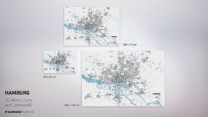 Stadtplan von Hamburg gedruckt auf Leinwand