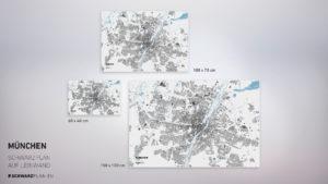 Stadtplan von München gedruckt auf Leinwand