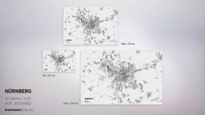 Stadtplan von Nürnberg gedruckt auf Leinwand