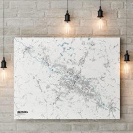 Schwarzplan von Dresden auf Leinwand gedruckt