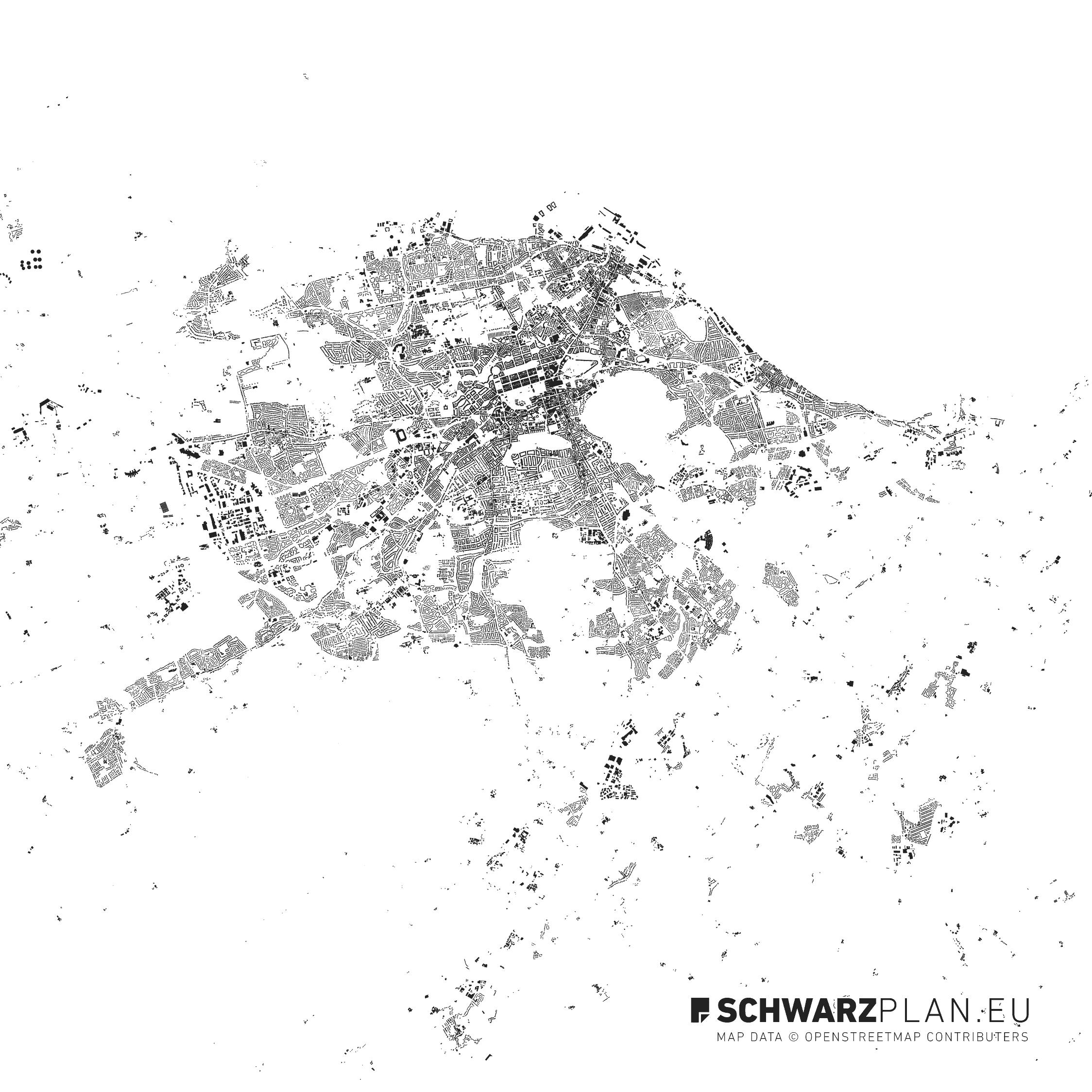 Schwarzplan von Edinburgh in Schottland