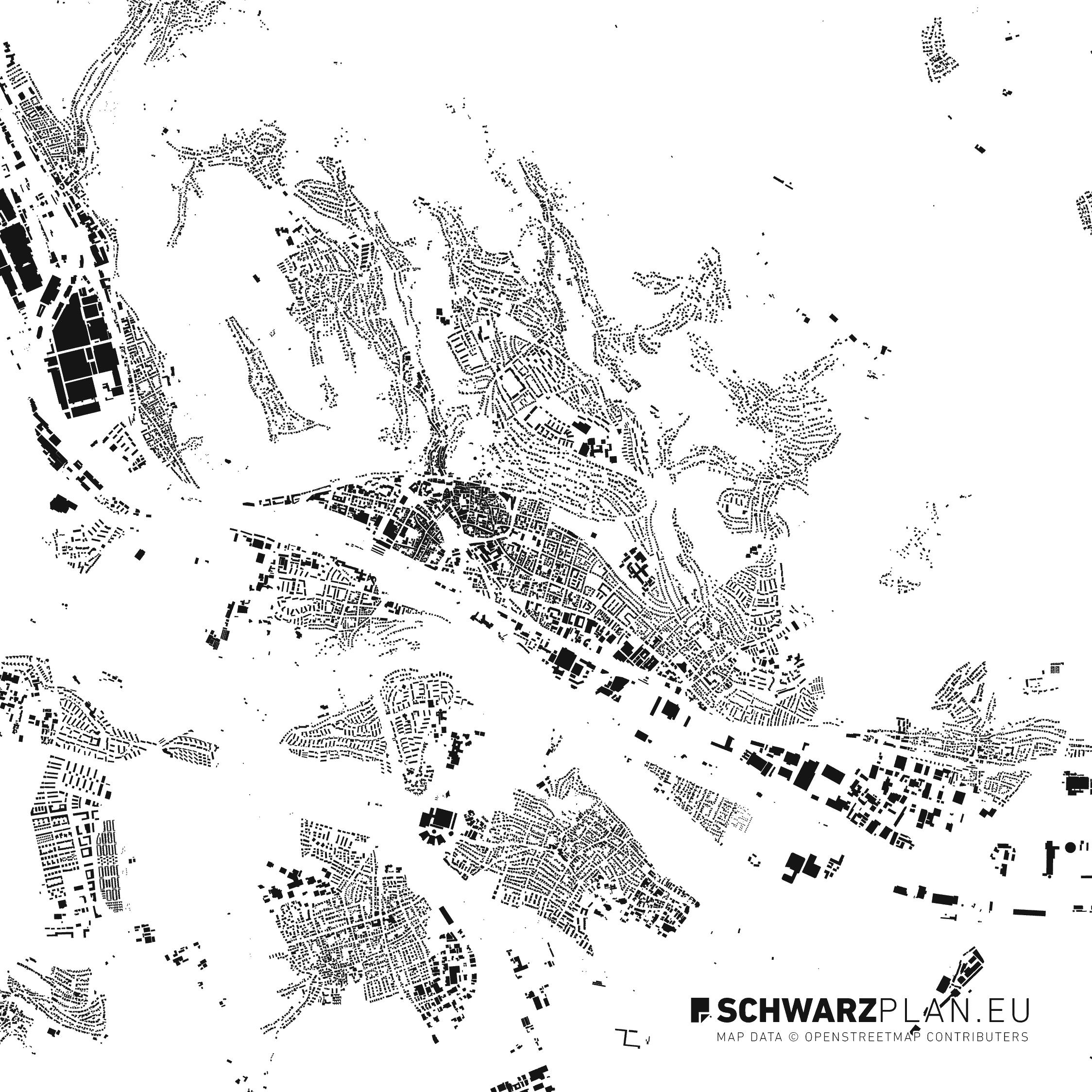 Schwarzplan von Esslingen am Neckar