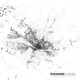 Schwarzplan von Florenz in Italien