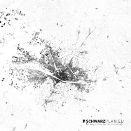 Schwarzplan von Florenz mit Höhenlinien