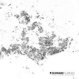 Schwarzplan von Singapur mit Höhenlinien