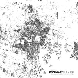 Schwarzplan von Tokio in Japan